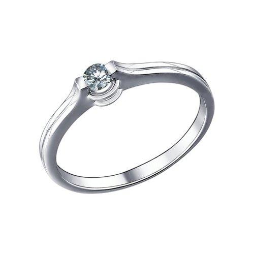 Помолвочное кольцо из белого золота с бриллиантом (1010272) - фото