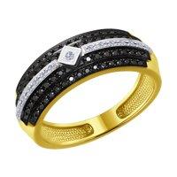 Кольцо из желтого золота с бесцветными и чёрными бриллиантами