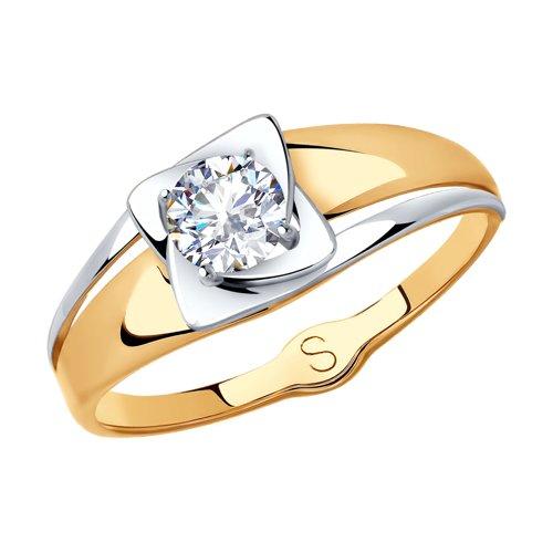 Кольцо из золота с фианитом (017985) - фото