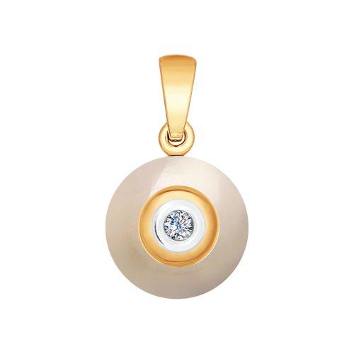 Подвеска из золота с бриллиантом и керамикой (6035031) - фото
