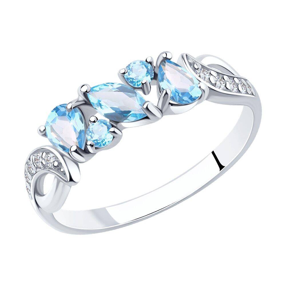 Кольцо SOKOLOV из серебра с топазами и фианитами кольцо коллекции wish с топазами из золота и серебра