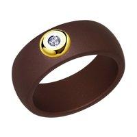 Широкое керамическое кольцо с бриллиантом и золотом