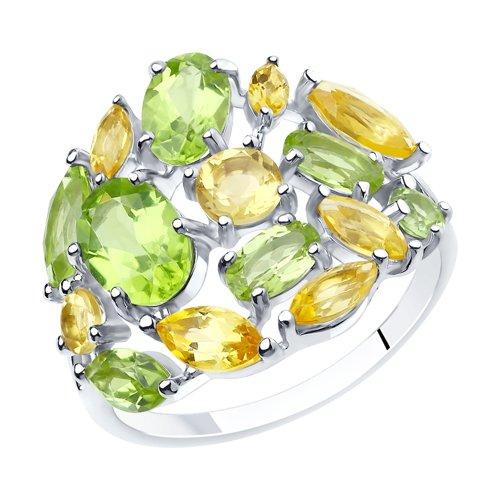 Кольцо из серебра с полудрагоценными вставками (92011845) - фото