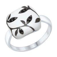 Кольцо из серебра с эмалью с чёрными фианитами