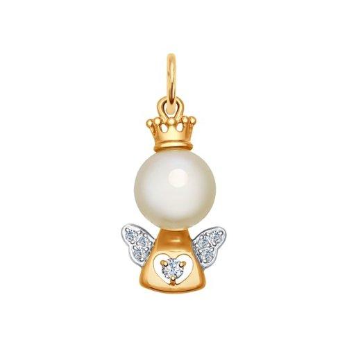 Подвеска «Ангел» из золота с жемчугом и фианитами