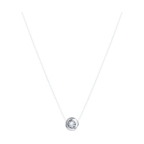 Колье на леске из серебра с фианитом 94070152