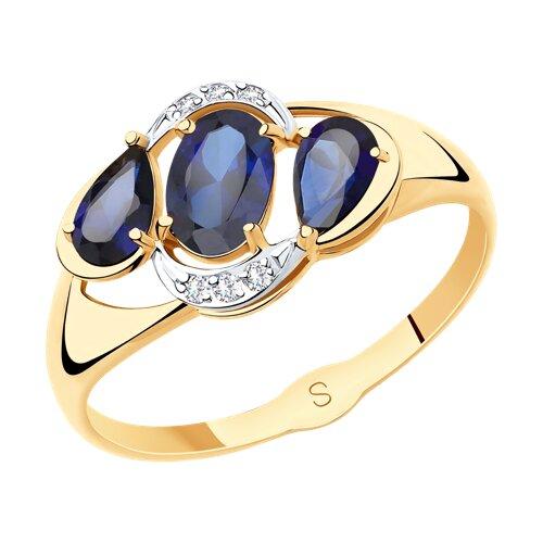 Кольцо из золота с синими корунд (синт.) и фианитами (715512) - фото