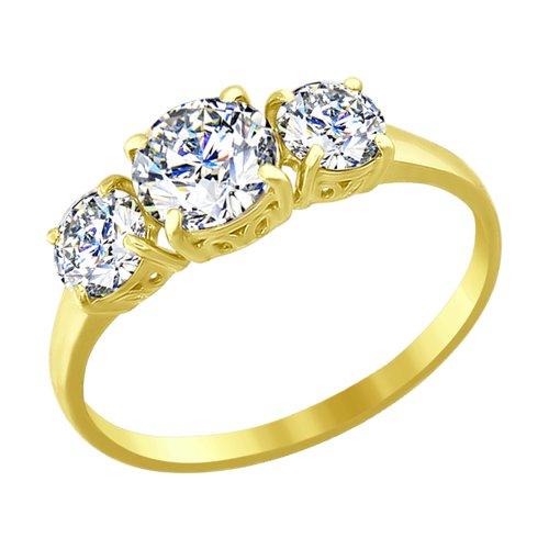 Кольцо из желтого золота с фианитами (016617-2) - фото