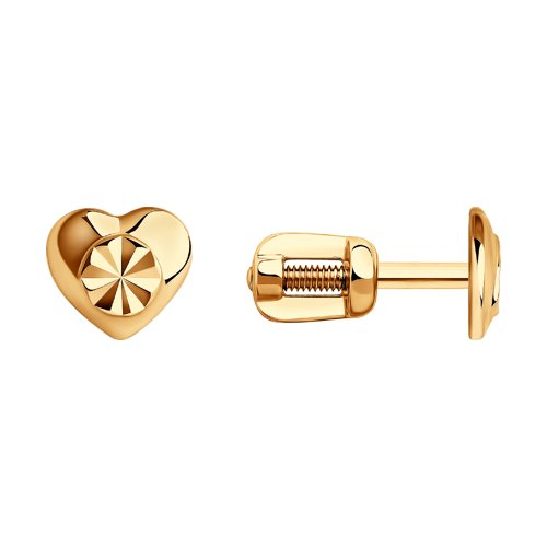 Серьги-пусеты из золота с алмазной гранью (022371) - фото