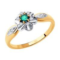 Кольцо из комбинированного золота с бриллиантами и изумрудом