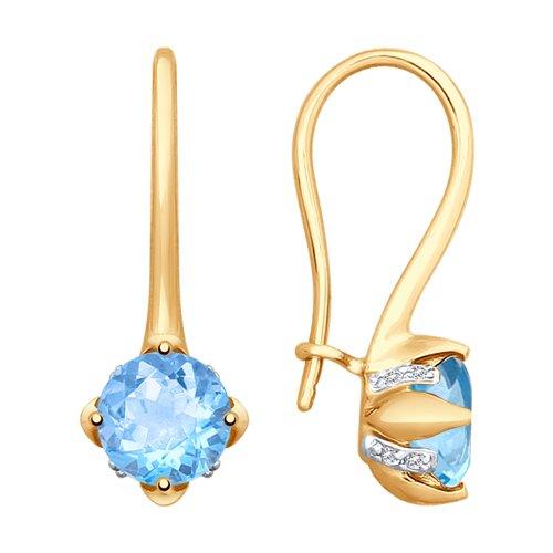 Серьги из золота с топазами и фианитами