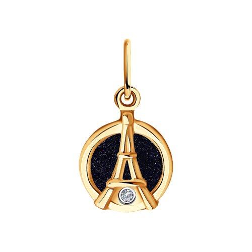 """Подвеска """"Эйфелева башня"""" из золота с бриллиантом и авантюриновое стекло"""