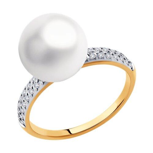Кольцо из золота с жемчугом и фианитами Swarovski (791167) - фото