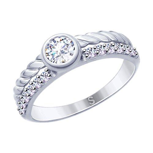 Кольцо из серебра с фианитами (94012638) - фото