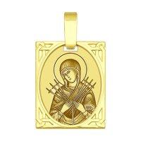 Золотая иконка «Икона Божьей Матери Семистрельная»