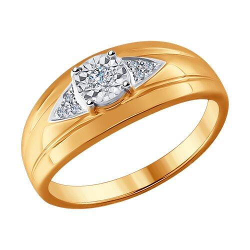 Кольцо из комбинированного золота с бриллиантами (1011534) - фото