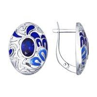 Серьги из серебра с эмалью с синими фианитами