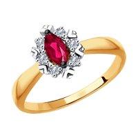 Кольцо из золота с бриллиантами и красными корундами