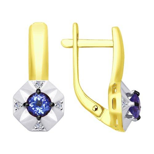 Серьги из желтого золота с бриллиантами и танзанитами (6024050-2) - фото