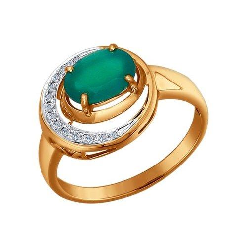 Элегантное золотое кольцо с бриллиантами и хризопразом SOKOLOV золотое кольцо ювелирное изделие 01k645533