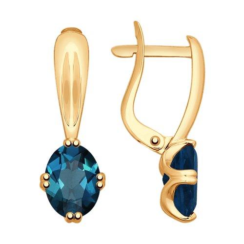 Серьги из золота с синими топазами (725176) - фото
