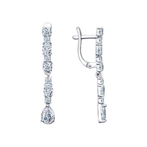 Серьги из серебра с фианитами (94021709) - фото