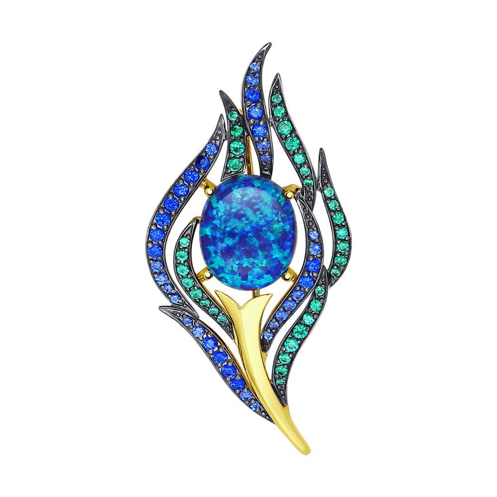 Брошь SOKOLOV из желтого золота с синим опалом и зелеными синими фианитами