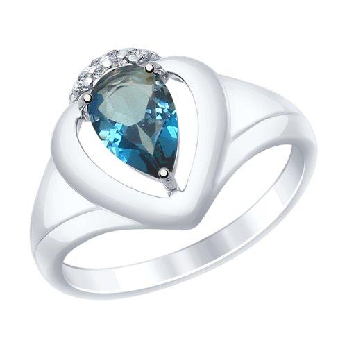 Кольцо из серебра с синим топазом и фианитами (92011470) - фото