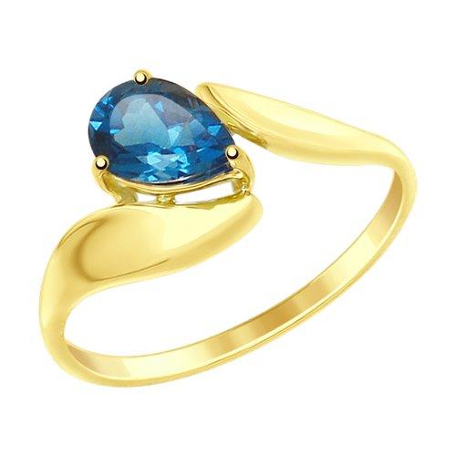 цена Кольцо SOKOLOV из желтого золота с синим топазом онлайн в 2017 году