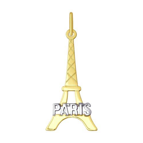 """Подвеска """"Paris"""" из желтого золота"""