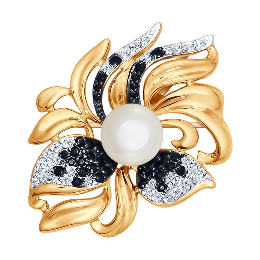 Брошь SOKOLOV из золота с жемчугом и бесцветными и чёрными фианитами золотое кольцо с чёрными и бесцветными фианитами sokolov