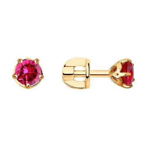 Серьги SOKOLOV из золота с красными корундами (синт.) jv серебряные серьги с синт кварцами синт аметистами и куб циркониями a4743 ams qz 001 wg