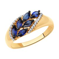 Кольцо из золота с синими корундами (синт.) и фианитами