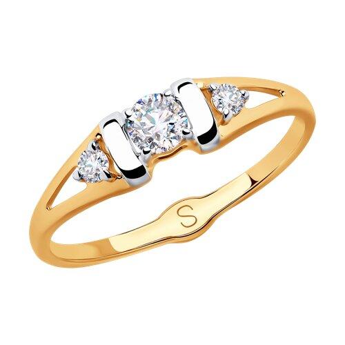 Кольцо из золота с фианитами (018000) - фото