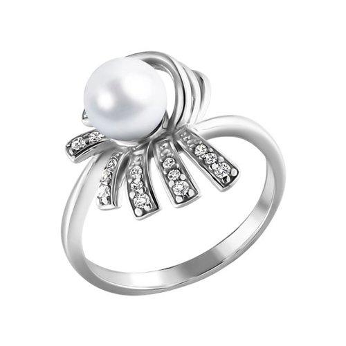 Серебряное кольцо с фианитами и жемчугом SOKOLOV