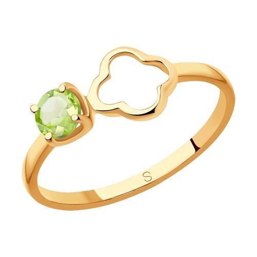 Кольцо из золота с хризолитом (715905) - фото