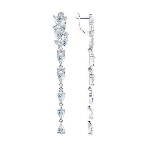 Серьги длинные из серебра с фианитами