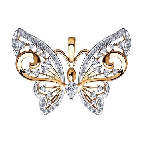 """Подвеска """"Бабочка"""" из золота с фианитами"""