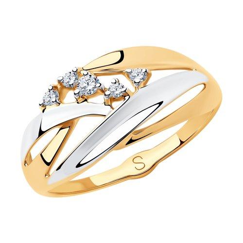 Кольцо из золота с фианитами (018180) - фото