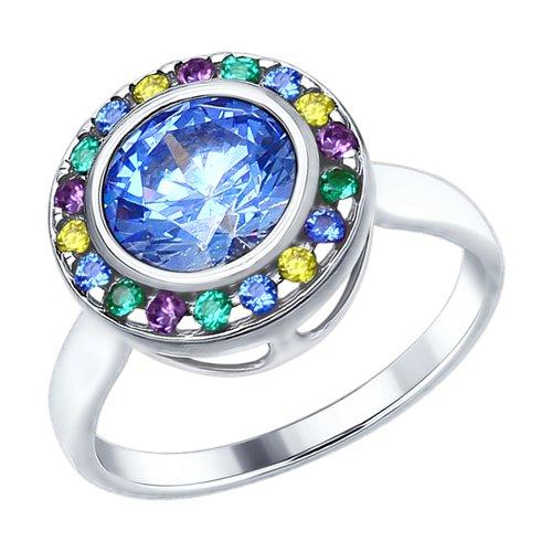 Кольцо из серебра с голубым Swarovski Zirconia и фианитами