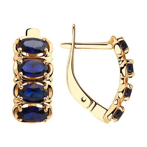 Серьги из золота с синими корундами (725794) - фото