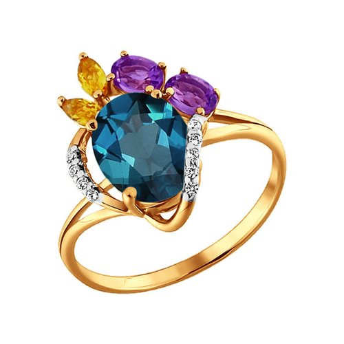 Кольцо из золота c топазом лондон блю, аметистом и цитринами
