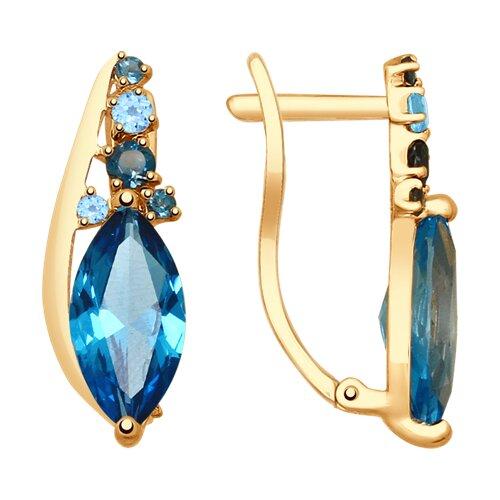 Серьги из золота с голубыми и синими топазами (725324) - фото