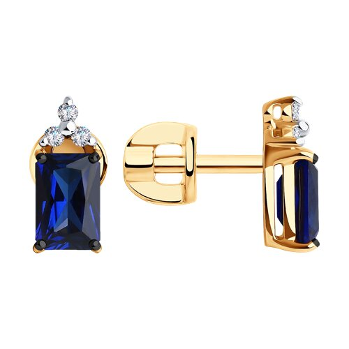 Серьги из золота с бриллиантами и корундами (6022177) - фото