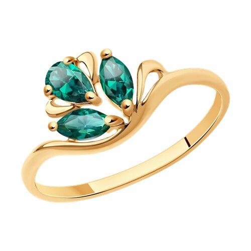 Кольцо из золота с изумрудом гидротермальным (715836) - фото