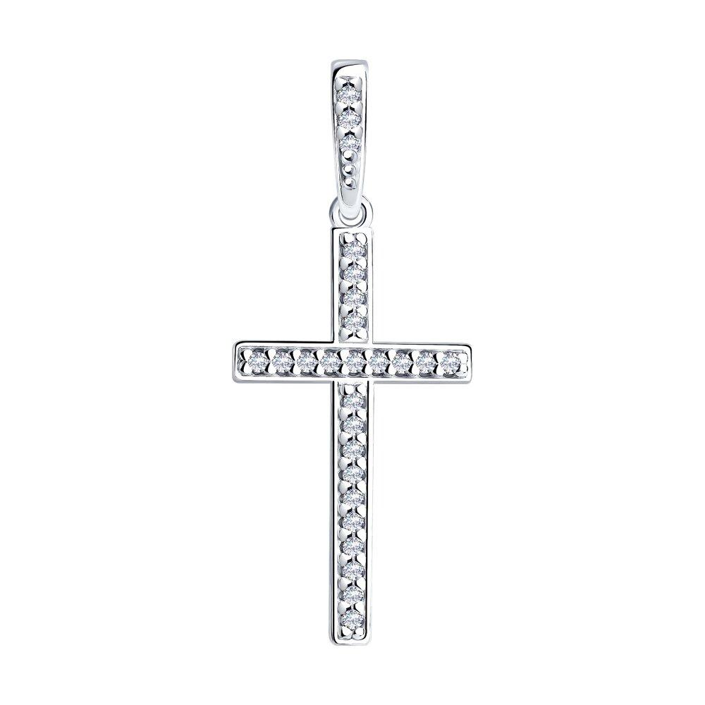 Крест SOKOLOV из серебра с фианитами фото