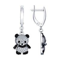 Серьги «Панда» из серебра