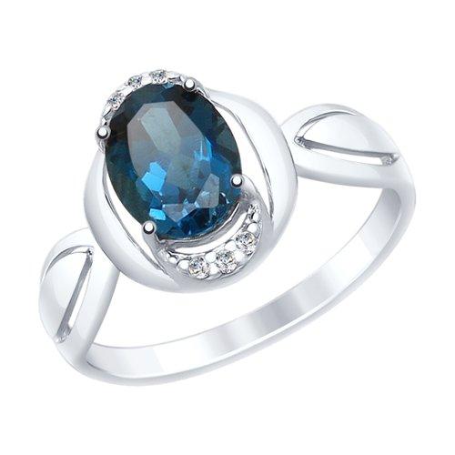 Кольцо из серебра с синим топазом и фианитами (92011559) - фото