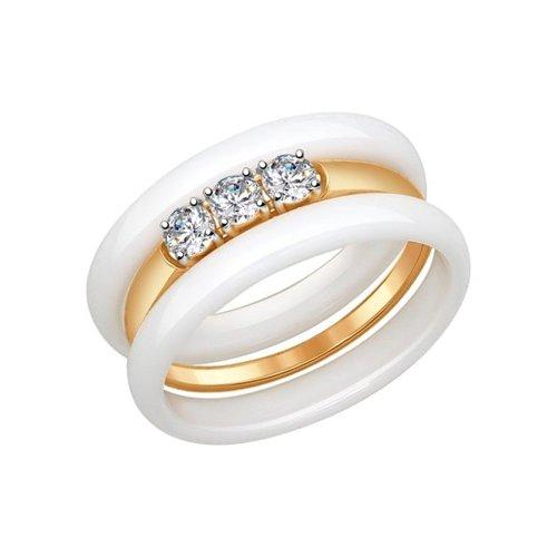Кольцо из золота с керамикой и фианитами
