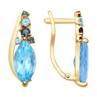 Серьги из золота с голубыми и синими топазами
